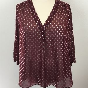 A.N.A Size 3X Popover Maroon and Gold Sheer Blouse